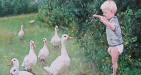 Kleinzoon Finn heeft model gestaan voor dit schilderij  80x80 olie op canvas